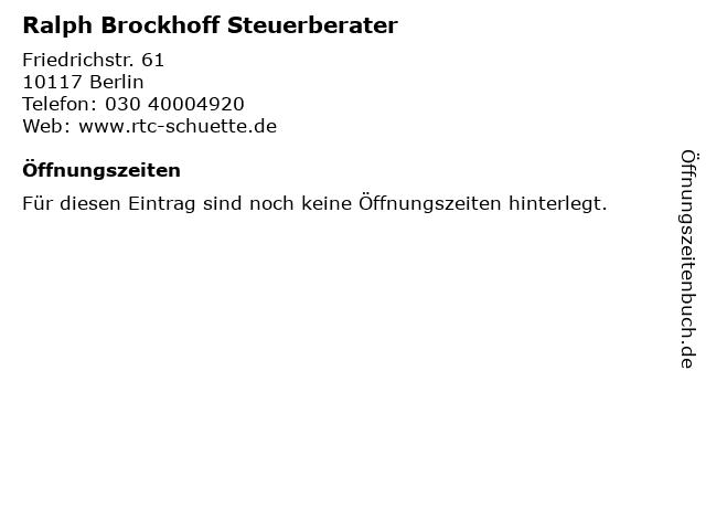Ralph Brockhoff Steuerberater in Berlin: Adresse und Öffnungszeiten
