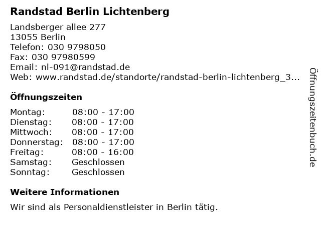 Randstad Berlin Lichtenberg in Berlin: Adresse und Öffnungszeiten