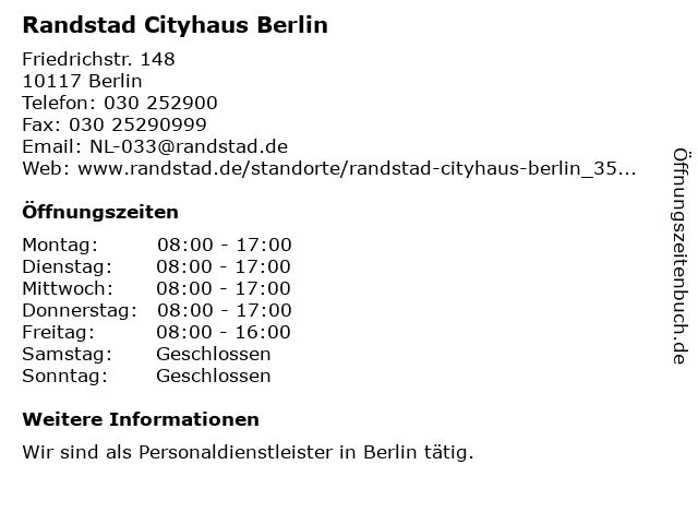 Randstad Cityhaus Berlin in Berlin: Adresse und Öffnungszeiten