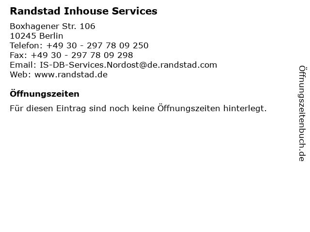 Randstad Inhouse Services in Berlin: Adresse und Öffnungszeiten
