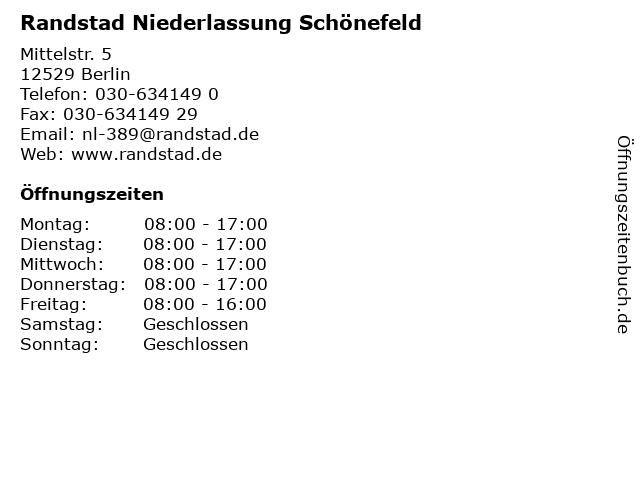 Randstad Niederlassung Schönefeld in Berlin: Adresse und Öffnungszeiten