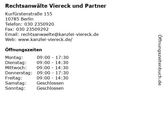Rechtsanwälte Viereck und Partner in Berlin: Adresse und Öffnungszeiten