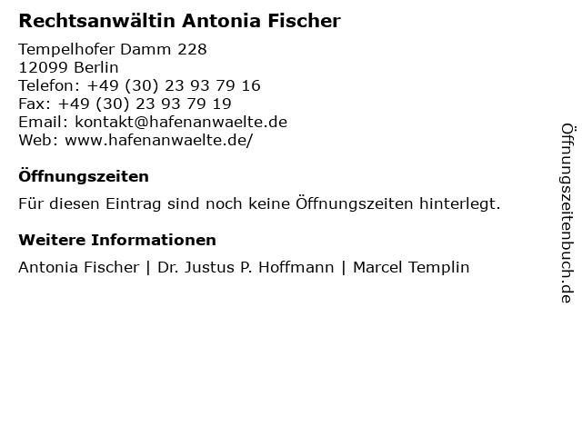 Rechtsanwältin Antonia Fischer in Berlin: Adresse und Öffnungszeiten