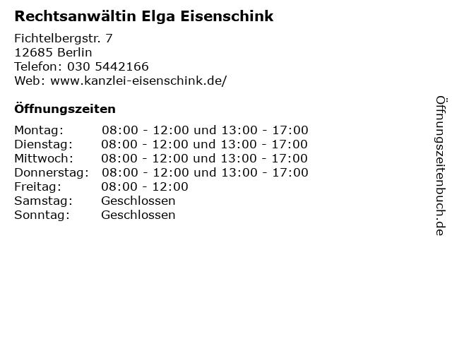 Rechtsanwältin Elga Eisenschink in Berlin: Adresse und Öffnungszeiten
