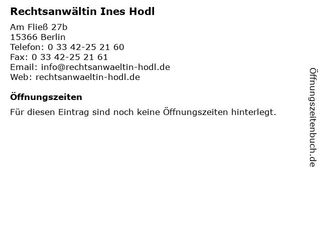 Rechtsanwältin Ines Hodl in Berlin: Adresse und Öffnungszeiten
