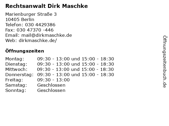 Rechtsanwalt Dirk Maschke in Berlin: Adresse und Öffnungszeiten