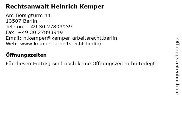Rechtsanwalt Heinrich Kemper in Berlin: Adresse und Öffnungszeiten