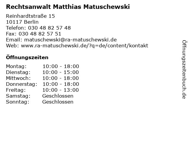 Rechtsanwalt Matthias Matuschewski in Berlin: Adresse und Öffnungszeiten