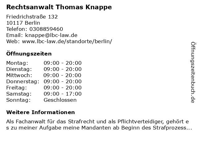Rechtsanwalt Thomas Knappe in Berlin: Adresse und Öffnungszeiten