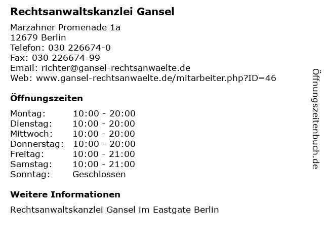 Rechtsanwaltskanzlei Gansel in Berlin: Adresse und Öffnungszeiten