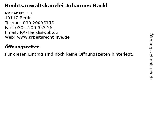 Rechtsanwaltskanzlei Johannes Hackl in Berlin: Adresse und Öffnungszeiten
