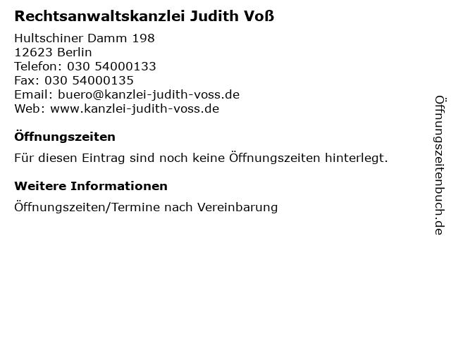 Rechtsanwaltskanzlei Judith Voß in Berlin: Adresse und Öffnungszeiten