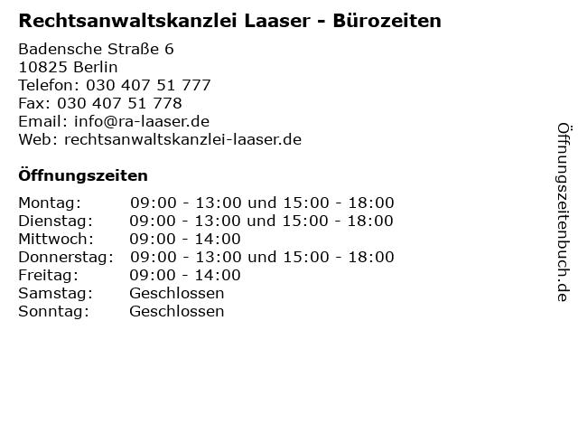 Rechtsanwaltskanzlei Laaser - Bürozeiten in Berlin: Adresse und Öffnungszeiten