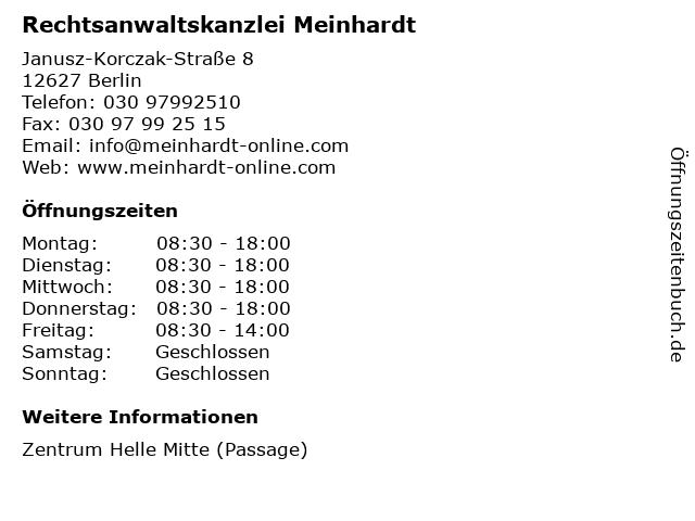 Rechtsanwaltskanzlei Meinhardt in Berlin: Adresse und Öffnungszeiten