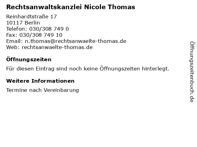 Rechtsanwaltskanzlei Nicole Thomas in Berlin: Adresse und Öffnungszeiten