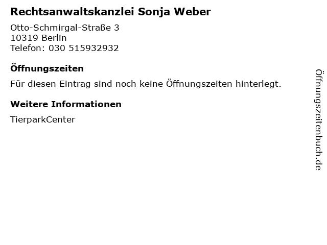 Rechtsanwaltskanzlei Sonja Weber in Berlin: Adresse und Öffnungszeiten