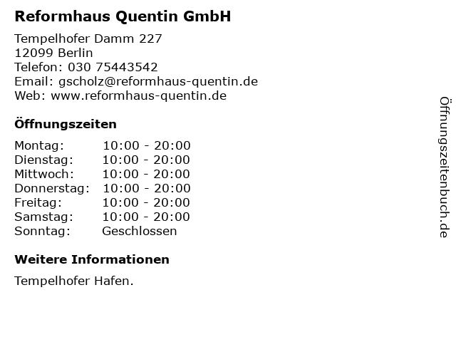 Reformhaus Quentin GmbH in Berlin: Adresse und Öffnungszeiten