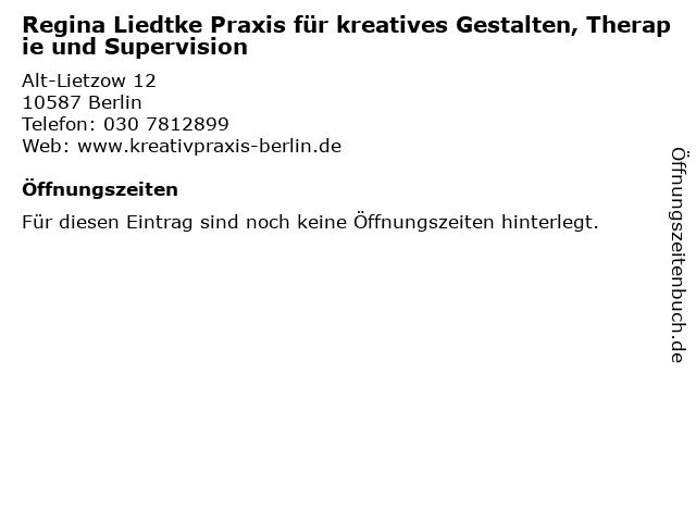 Regina Liedtke Praxis für kreatives Gestalten, Therapie und Supervision in Berlin: Adresse und Öffnungszeiten