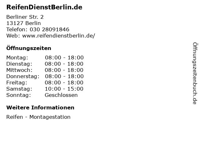 ReifenDienstBerlin.de in Berlin: Adresse und Öffnungszeiten