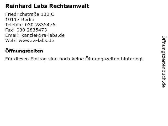 Reinhard Labs Rechtsanwalt in Berlin: Adresse und Öffnungszeiten