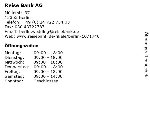 Reise Bank AG in Berlin: Adresse und Öffnungszeiten