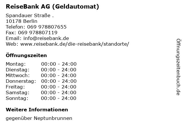 ReiseBank AG (Geldautomat) in Berlin: Adresse und Öffnungszeiten