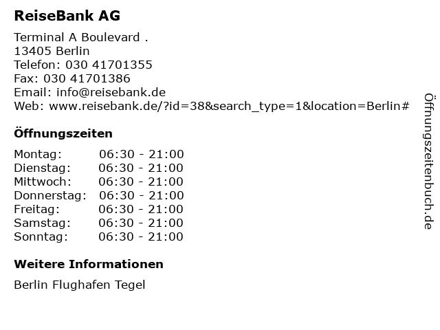 ReiseBank AG in Berlin: Adresse und Öffnungszeiten