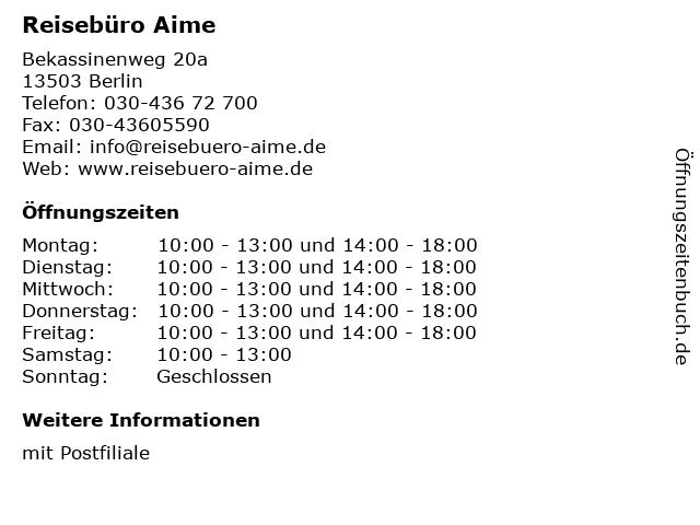 Reisebüro Aime in Berlin: Adresse und Öffnungszeiten
