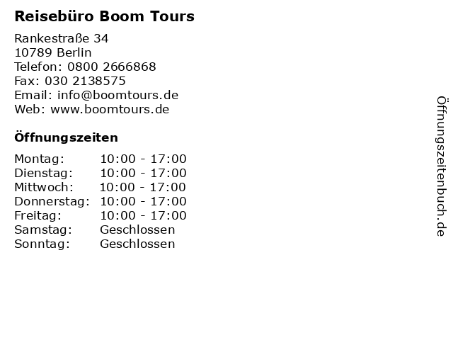Reisebüro Boom Tours in Berlin: Adresse und Öffnungszeiten