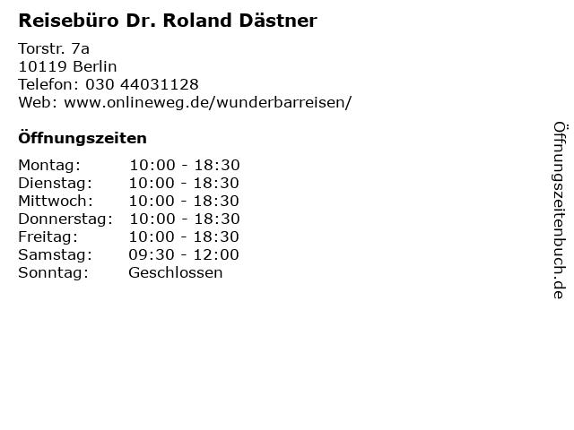 Reisebüro Dr. Roland Dästner in Berlin: Adresse und Öffnungszeiten