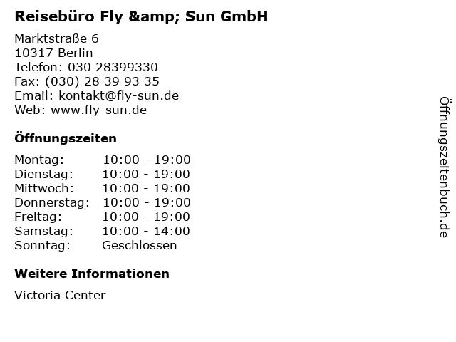 Reisebüro Fly & Sun GmbH in Berlin: Adresse und Öffnungszeiten