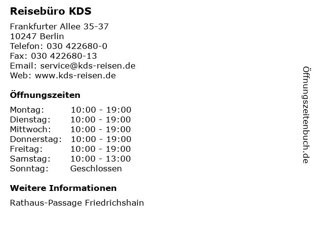 Reisebüro KDS in Berlin: Adresse und Öffnungszeiten