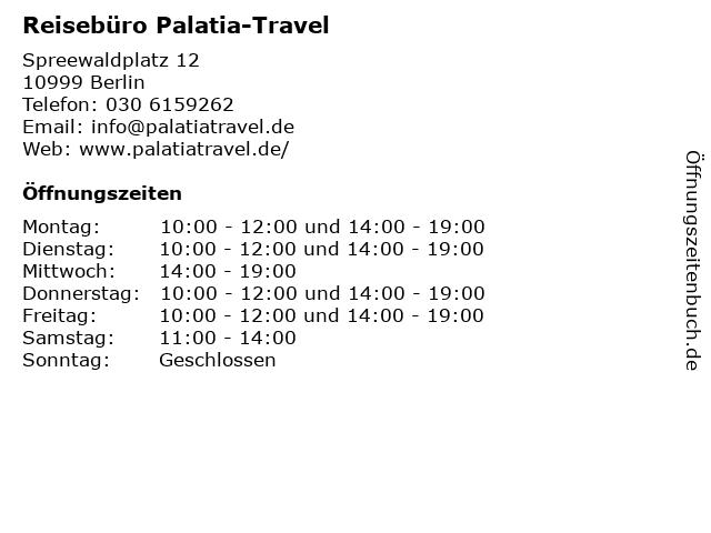Reisebüro Palatia-Travel in Berlin: Adresse und Öffnungszeiten