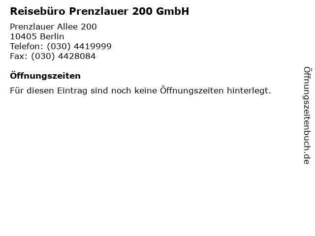 Reisebüro Prenzlauer 200 GmbH in Berlin: Adresse und Öffnungszeiten