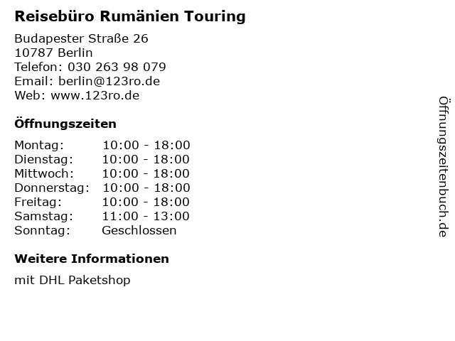 Reisebüro Rumänien Touring in Berlin: Adresse und Öffnungszeiten