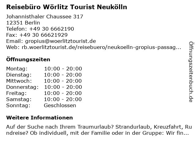 Wörlitz Tourist Reisebüro GmbH & Co. KG in Berlin: Adresse und Öffnungszeiten