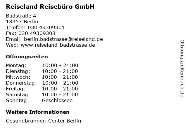 Reiseland Reisebüro GmbH in Berlin: Adresse und Öffnungszeiten