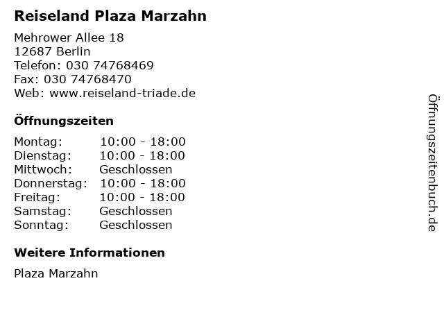 Reiseland in der Plaza Marzahn in Berlin: Adresse und Öffnungszeiten