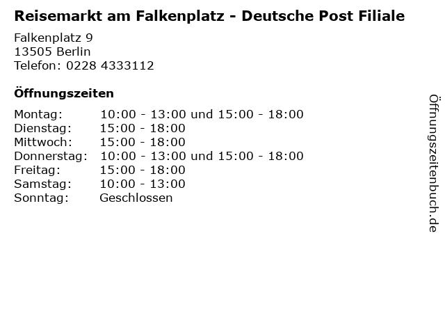 Reisemarkt am Falkenplatz - Deutsche Post Filiale in Berlin: Adresse und Öffnungszeiten
