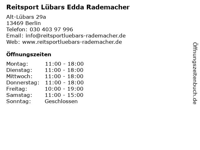Reitsport Lübars Edda Rademacher in Berlin: Adresse und Öffnungszeiten