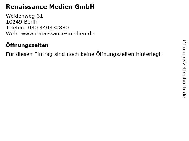 Renaissance Medien GmbH in Berlin: Adresse und Öffnungszeiten