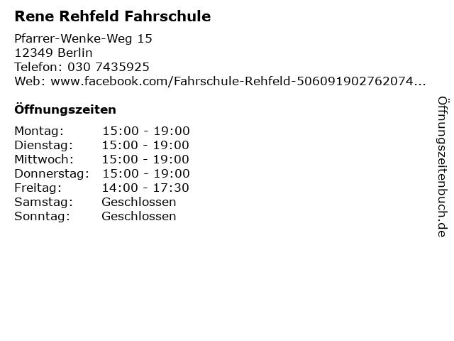 Rene Rehfeld Fahrschule in Berlin: Adresse und Öffnungszeiten