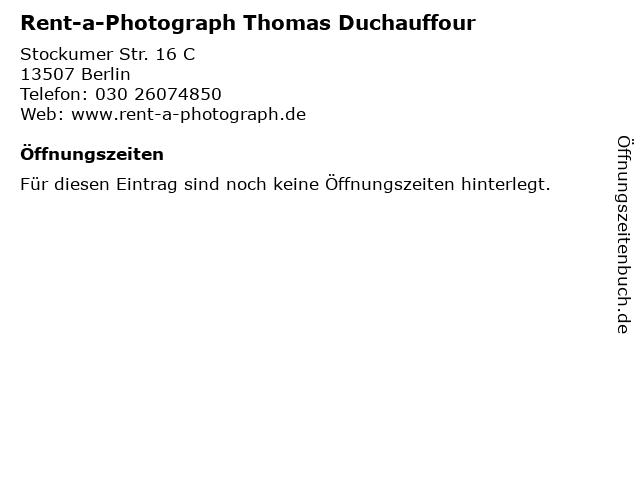 Rent-a-Photograph Thomas Duchauffour in Berlin: Adresse und Öffnungszeiten