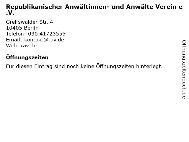 Republikanischer Anwältinnen- und Anwälte Verein e.V. in Berlin: Adresse und Öffnungszeiten