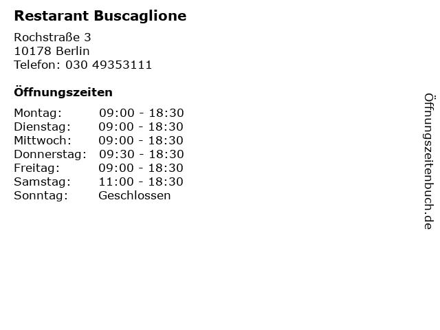 Restarant Buscaglione in Berlin: Adresse und Öffnungszeiten