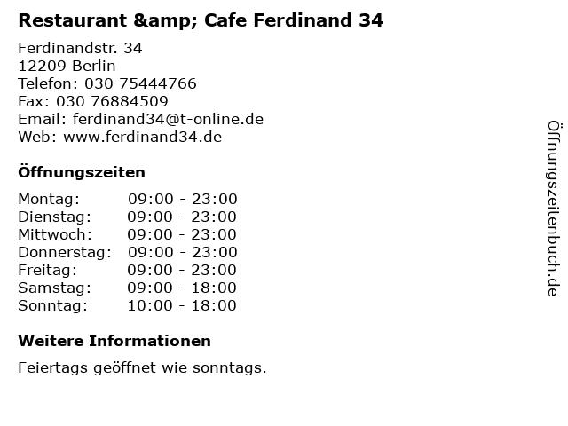 Restaurant & Cafe Ferdinand 34 in Berlin: Adresse und Öffnungszeiten