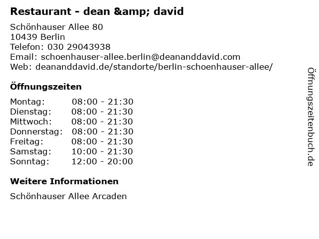 Restaurant - dean & david in Berlin: Adresse und Öffnungszeiten
