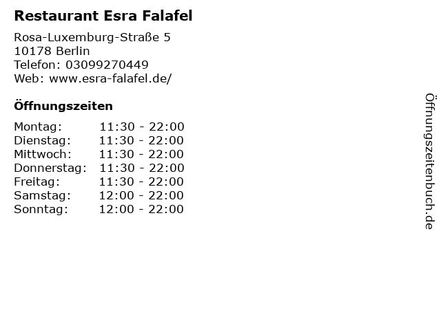 Restaurant Esra Falafel in Berlin: Adresse und Öffnungszeiten