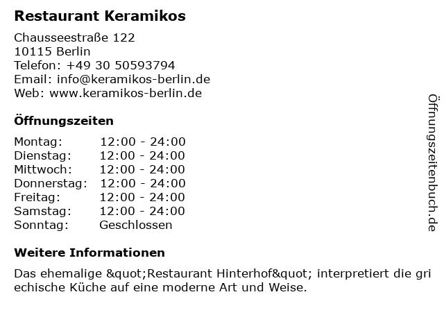 ᐅ Offnungszeiten Restaurant Hinterhof Chausseestrasse