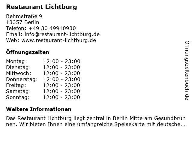 Restaurant Lichtburg in Berlin: Adresse und Öffnungszeiten